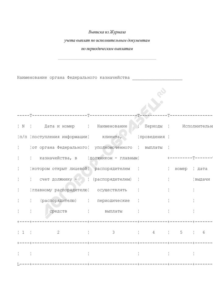 Выписка из журнала учета выплат по исполнительным документам по периодическим выплатам органа Федерального казначейства. Страница 1