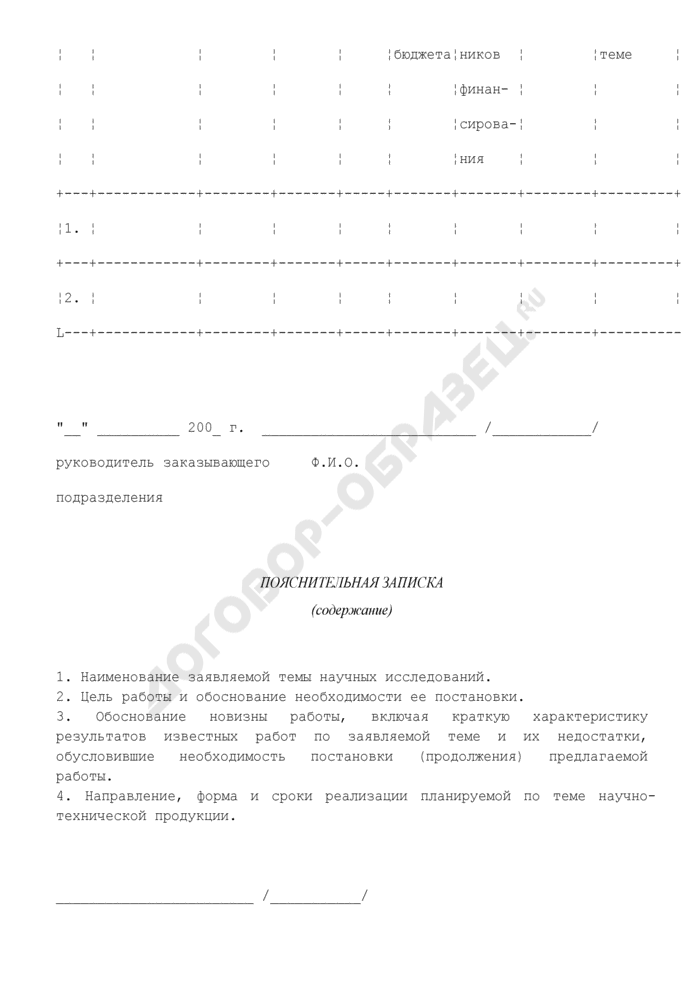 Форма заявки на включение научных тем в проект сводного тематического плана работ по созданию научно-технической продукции в Федеральной службе по экологическому, технологическому и атомному надзору. Страница 2