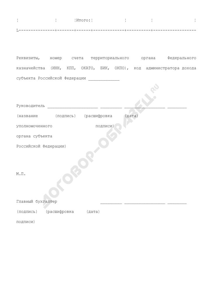 """Заявка на получение иных межбюджетных трансфертов на финансовое обеспечение расходов бюджета субъекта Российской Федерации по выплате единовременного денежного поощрения родителям (усыновителям), награжденным орденом """"Родительская слава. Страница 2"""