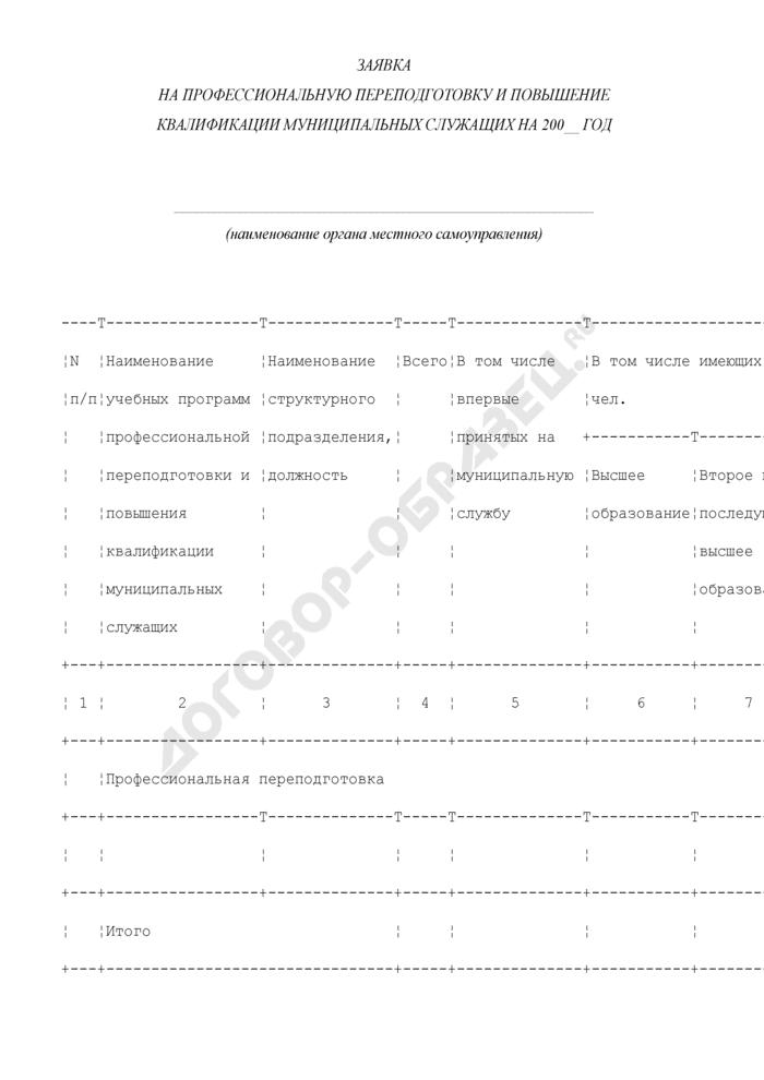 Заявка на профессиональную переподготовку и повышение квалификации муниципальных служащих в городском поселении Волоколамск Московской области. Страница 1