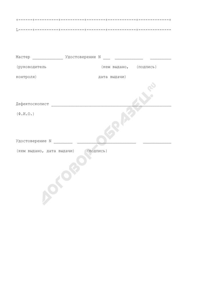 Рекомендуемые формы бланков для оформления материалов по контролю технического состояния трубопровода. Заключение по измерению толщины стенки участков трубопровода. Страница 2