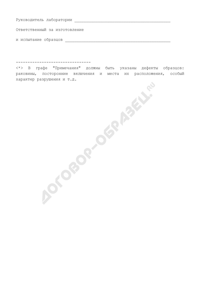 Журнал испытаний для определения подвижности, средней плотности растворной смеси и прочности на сжатие, средней плотности образцов раствора (рекомендуемая форма). Страница 2