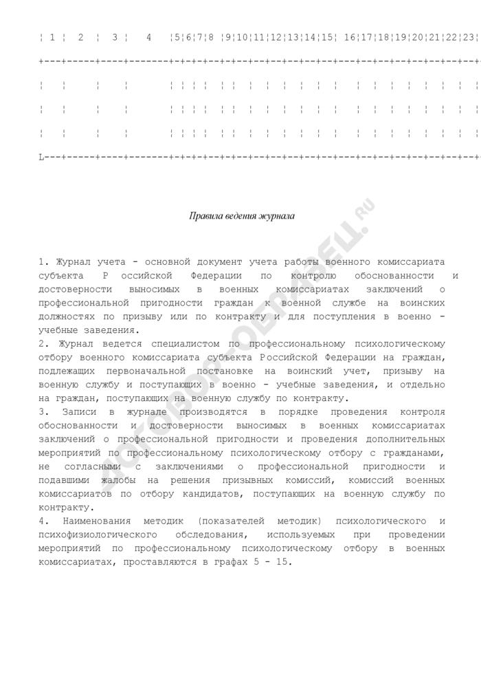 Журнал учета работы специалиста по профессиональному психологическому отбору военного комиссариата субъекта Российской Федерации. Страница 2