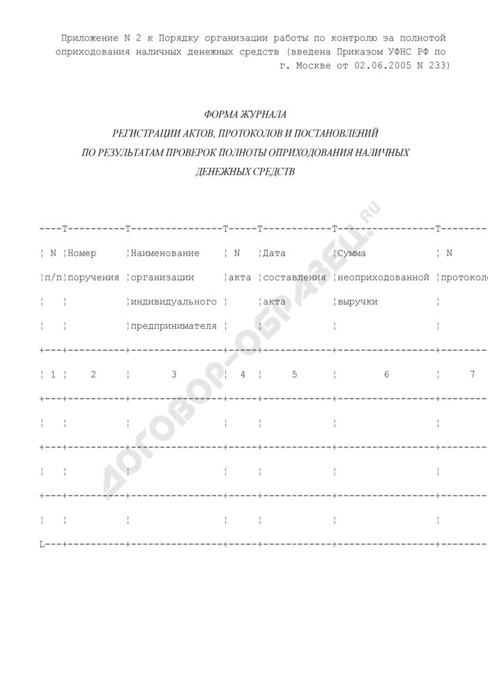 Форма журнала регистрации актов, протоколов и постановлений по результатам проверок полноты оприходования наличных денежных средств. Страница 1