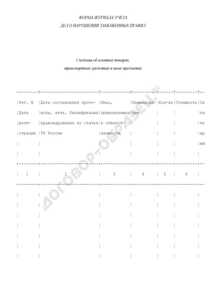 Форма журнала учета дел о нарушении таможенных правил. Сведения об изъятых товарах, транспортных средствах и иных предметах. Страница 1