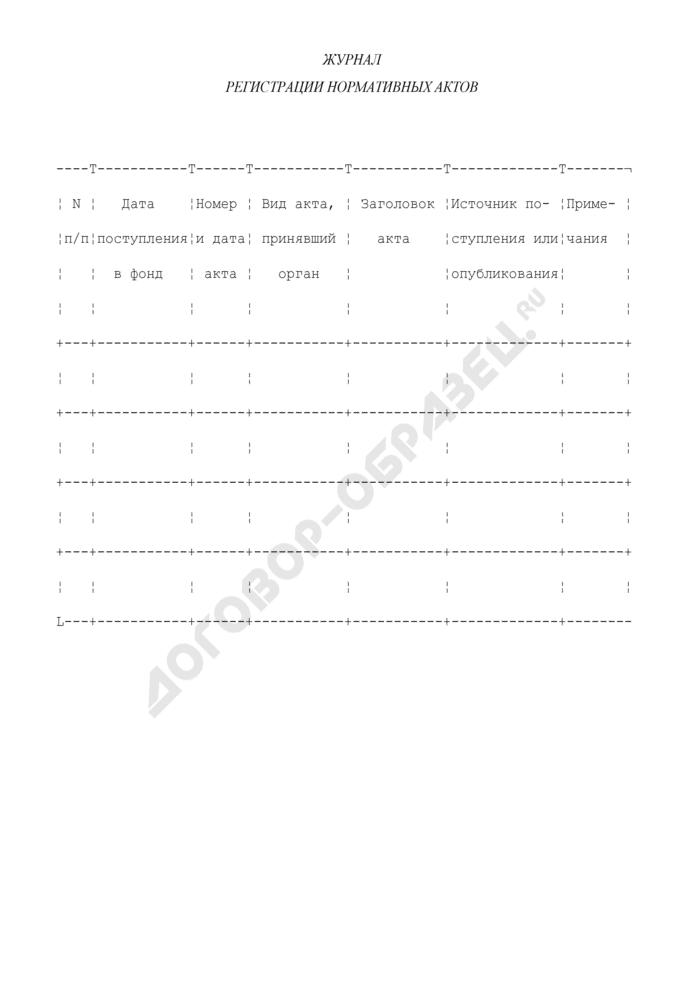 Журнал регистрации нормативных актов в системе Судебного департамента. Страница 1