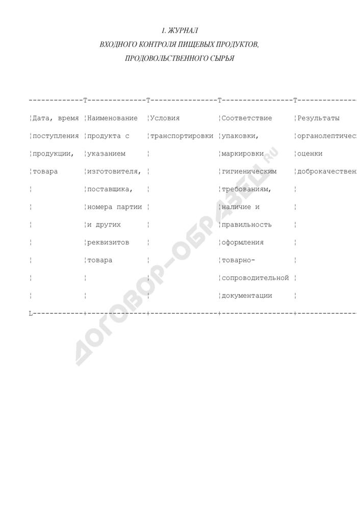Журнал входного контроля пищевых продуктов, продовольственного сырья (рекомендуемая форма). Страница 1