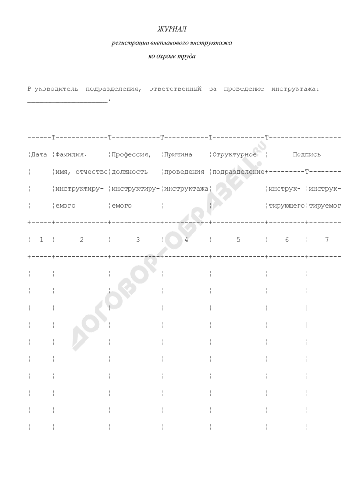 Журнал регистрации внепланового инструктажа по охране труда на рабочем месте. Страница 1