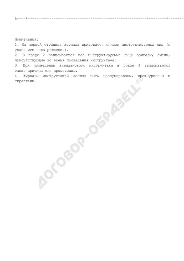 Журнал регистрации инструктажей на рабочем месте (следующие страницы). Страница 2