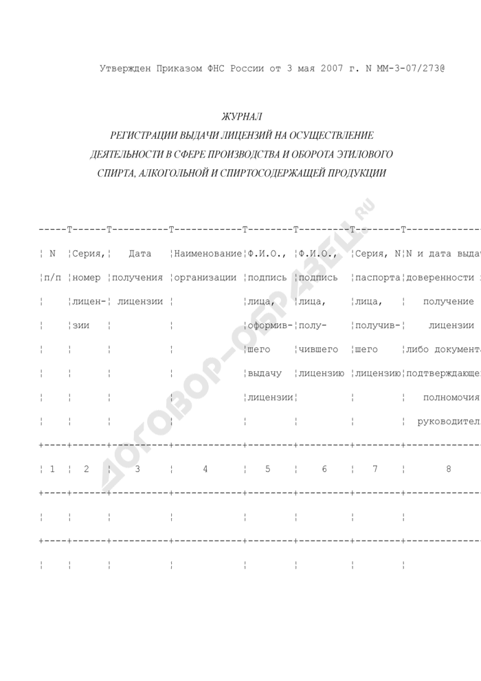 Журнал регистрации выдачи лицензий на осуществление деятельности в сфере производства и оборота этилового спирта, алкогольной и спиртосодержащей продукции. Страница 1