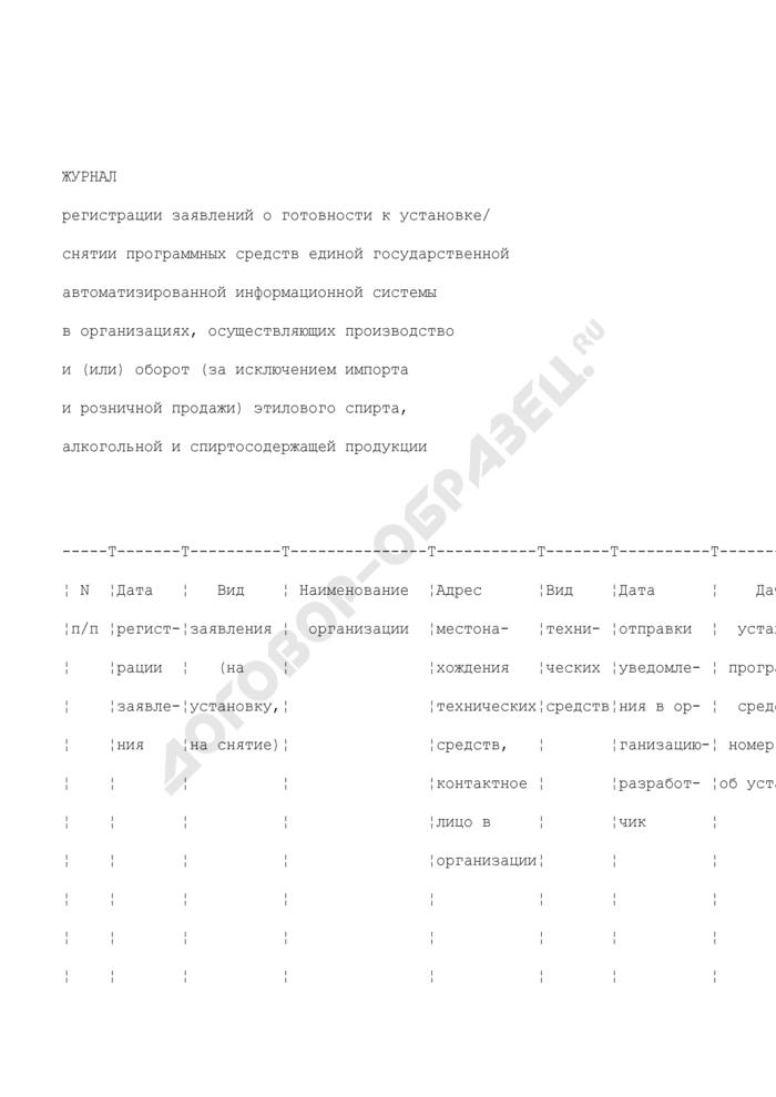 Журнал регистрации заявлений о готовности к установке/снятии программных средств единой государственной автоматизированной информационной системы в организациях, осуществляющих производство и (или) оборот (за исключением импорта и розничной продажи) этилового спирта, алкогольной и спиртосодержащей продукции. Страница 1