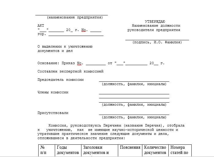 Начало документа «Акт на уничтожение документов»