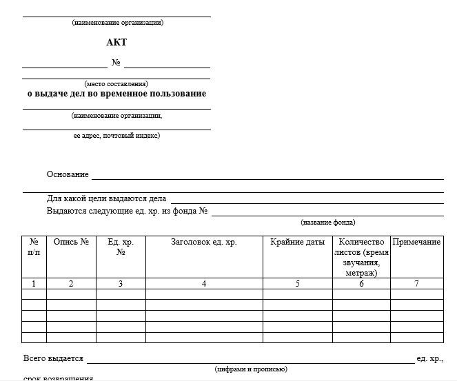 Начало документа «Акт о выдаче дел во временное пользование»