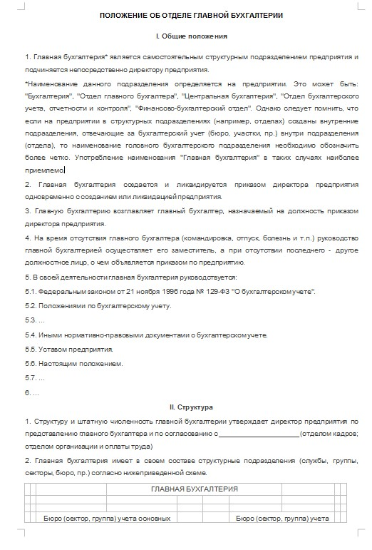 Начало документа «Положение об отделе бухгалтерии»