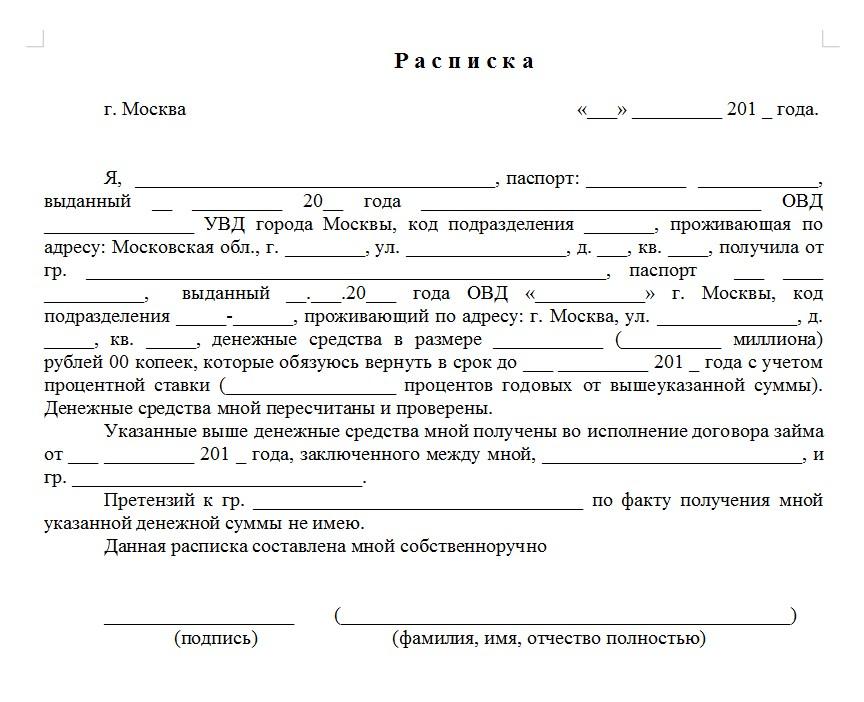 Начало документа «Расписка о получении займа»
