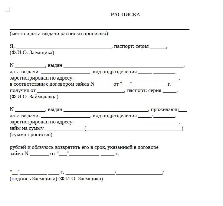 Начало документа «Расписка о возврате денежных средств»