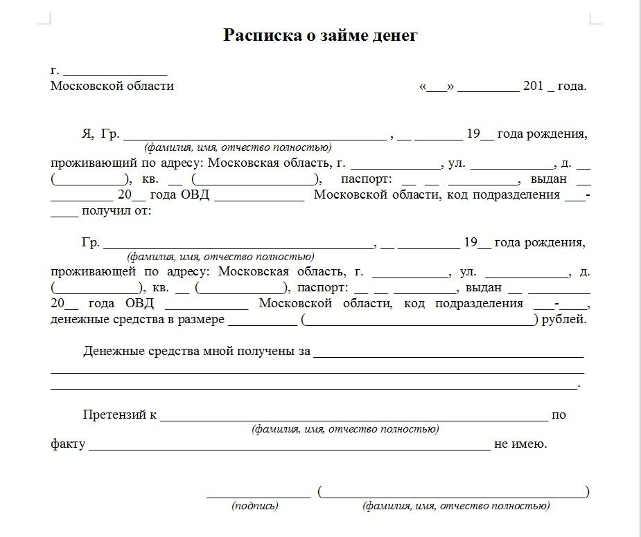 Начало документа «Расписка о возврате займа»