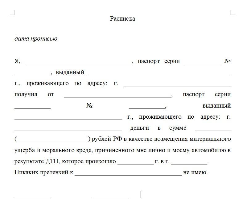 Начало документа «Расписка об отсутствии претензий»