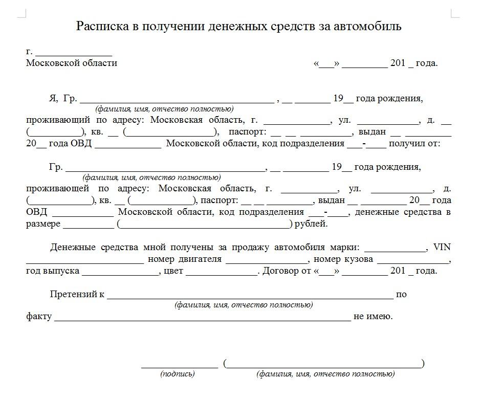 Начало документа «Расписка в получении денежных средств за автомобиль»