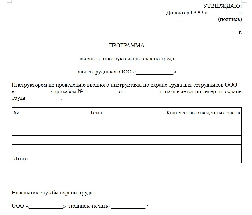 Начало документа «Программа проведения вводного инструктажа по охране труда»