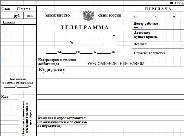 Начало документа «Телеграмма»