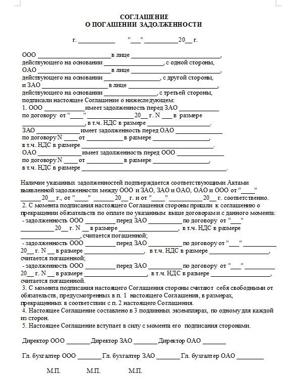 Начало документа «Соглашение о погашении долга»