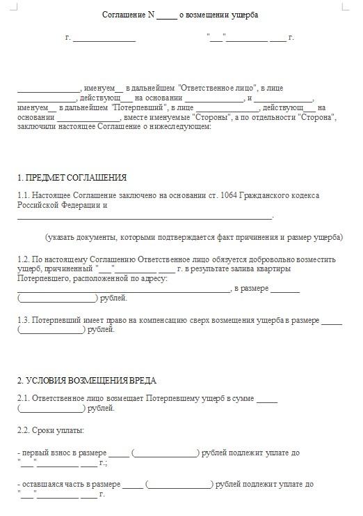 Начало документа «Соглашение о возмещении ущерба»