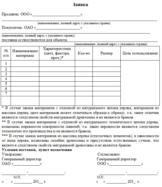 Начало документа «Заявка на поставку товара»