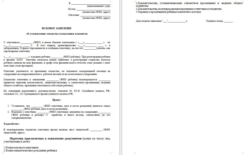 Начало документа «Заявление об установлении отцовства отцом»